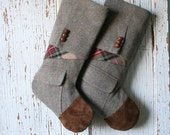 Tweed, Tartan CHRISTMAS STOCKING Set - SET with Suede Toes