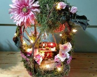 Fairy House - LOVE Pink Basket Cottage