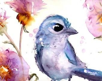 Scrub Jay in the Wildflowers, Bird Art Print, 12 x 16 Bird Art, Blue Jay