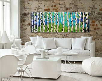 Original blue gree Abstract Forest Painting, large Birch forest, Blue Green Trees, long painting ready to hang textured trees white