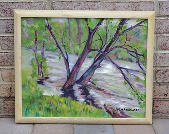 """Vintage Original 1990's Impressionist Landscape Painting on board titled """"knee deep in the Tulpehocken"""" signed Jean Cocuzza - GORGEOUS!!"""