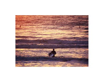 Santa Cruz Photography. Surfer. Sunset. Beach art. Summer. Ocean.  Pink Purple Gold. Silhouette. Surf Home Decor