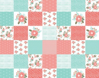 PERSONALIZED Minky Baby Blanket, Baby Girl, Coral/Teal