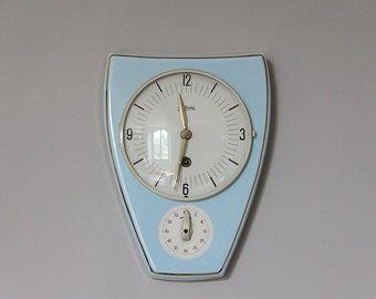 French Kitchen Wall Clock with Timer Pale Sky Blue, Porcelain Clock, Mid Century