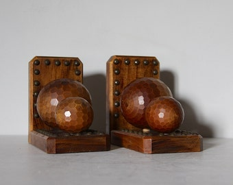 Rustic French Wooden Book Ends, Carved Wood and Metal, Boules