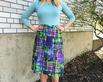 A-Line Printed Spandex Skirt Medium or Large