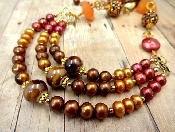 Multi Strand Brown Red and Gold Pearl and Gemstone Necklace