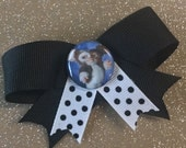 Black and White Gizmo Hair Bow