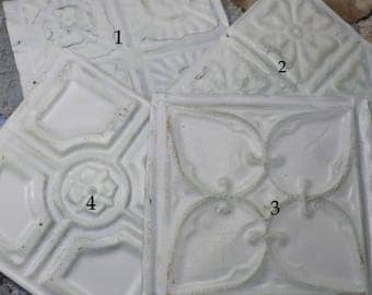 1 Antique 6 x 6 White Painted Tin Ceiling Tile