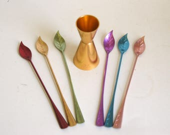 Vintage Bar Tools, Drink Stirrers Jigger, Swizzle Sticks, Anodized Aluminum, Tall Stirs, Colored Aluminum