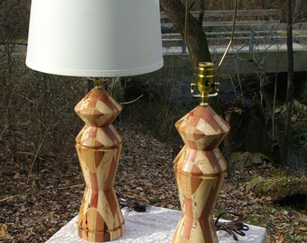 Pair of Magnificent Hand Turned Mixed Hardwood Lamps from BlackWater Workshops