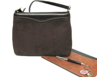 Vintage Chocolate Brown Firm Side Purse Mock Suede Handbag