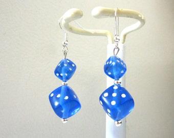 Bunko Blue Dice Earrings