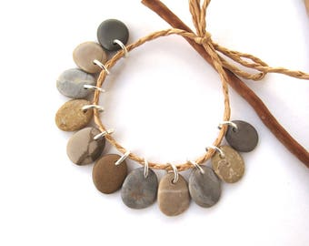 Stone Beads Small Rock Jewelry Charms Mediterranean Beach Stone River Stone Natural Stone Pairs SWEET CHARMS 15 mm