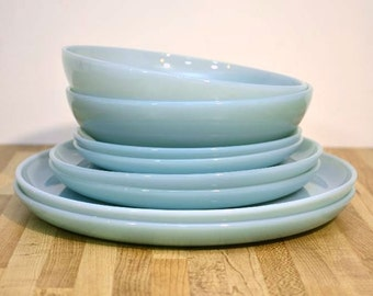 Vintage Fire King Blue Round Dinnerware Set of Dishes: Complete Set of Two with Extra Turquoise Blue Plates Coffee Cup Mug Not Azurite