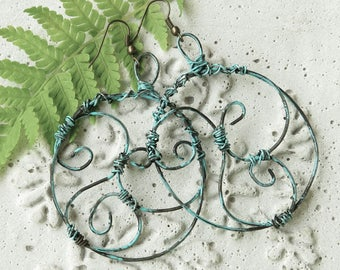 Large Oxidized verdigris wire earrings with spirals