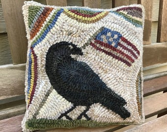 Folk Art Primitive Wool Hooked Rug Old Crow Pillow