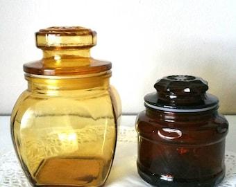 Vintage Apothecary Vintage Amber Apothecary Amber Glass Jar Brown Apothecary Brown Glass Vintage Cannisters Vintage Jar Vintage Storage