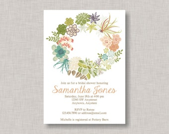 Wreath Invitation, Floral Bridal Shower Invitation, Wreath Bridal Shower Invitation, Rustic Bridal Shower Invitation, Wedding Wreath