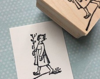 Zola the girl Rubber Stamp
