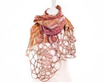 silk scarf, sale silk scarf, sale felted scarf, Kate Ramsey, irish made, felt scarf, unusual handmade scarf, silk wrap, felted shawl