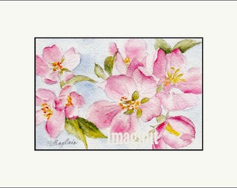 Original Miniature Painting in Watercolor - Pink Dogwood