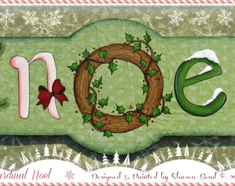 E PATTERN - Cardinal Noel - Creative Noel Lettering with Cardinal and Pine - Painted & Designed by Sharon B - FAAP