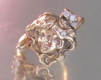 Antique Art Nouveau Woman's Face with Old Mine Diamond in Hair and White Sapphires 14K