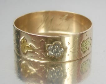 Antique Victorian Tri-Colored Blue & Yellow Flowers and Green Leaves Rose Gold Wedding Band 10K