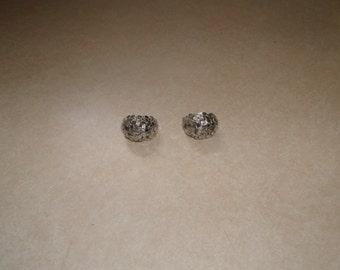 vintage clip on earrings silvertone glitter