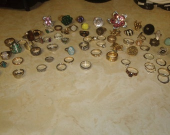 vintage lot 67 ladies finger rings cocktail mixed lot silvertone goldtone rhinestones crafts wholesale resell