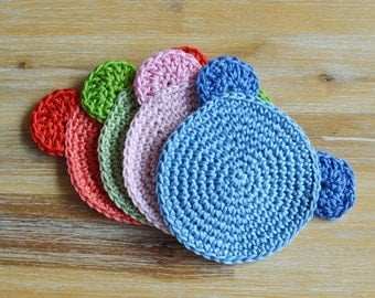 Crochet Coasters - Blue 100% Cotton Teddy Coaster Set of 2 - Made To Order
