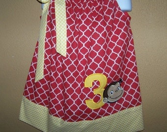 Curious George with Birthday Number Pillowcase Dress, Monkey Dress, Red Quatrefoil with Yellow and White Polka Dots, Size 12 mo to 14