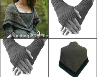 Outlander Inspired Rent Shawl And Fingerless Gloves Set Digital PDF Pattern Claire's Sassenach PDF File Is not a finished product