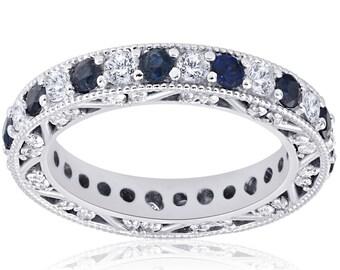 Art Deco Diamond Stackable Ring, Blue Sapphire Diamond Wedding Ring, White Gold Blue Sapphire Vintage Diamond Wedding Band, Stackable Band