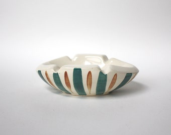 Hand painted 1970 Ceramic Ashtray. Chunky Cream Green Brown Stripes. Oval Trinket Dish