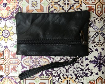 Small genuine leather wristlet BAG, iPhone case, Cosmetic bag, Make up bag,Purse in BLACK soft leather.