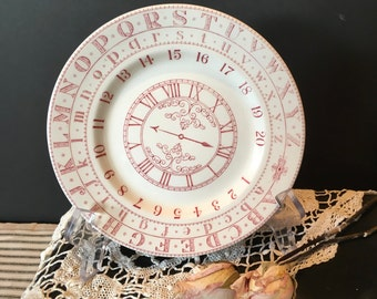Vintage ADAMS English Ironstone ABC NUMBER Plate / Alphabet Number Clock Plate / Pink Alphabet Plate