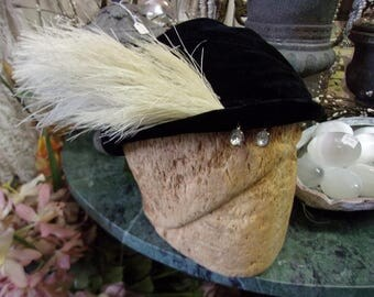 Black Velvet Feathered Rhine Stone 1940's Hat