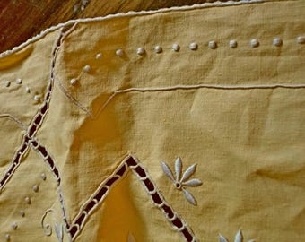 Antique Vintage Dijon Yellow Irish Linen Heavily Hand Embroidered Tablecloth