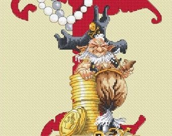 Pirate Letter T cross stitch patterns by Lena Lawson Needlearts artwork by Pascal Moguerou booty argh treasure Talk like a Pirate Day