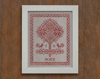 PDF Tree of Life cross stitch patterns by Modern Folk at thecottageneedle.com monochromatic woodland Anniversary Wedding