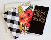 Travelers Notebook Insert Refill Set of 3 Midori Fauxdori Dream Chaser Floral Buffalo Check Standard Size