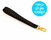 Gold Wrist Strap - Black Gold Wristlet - Key Chain - Wallet Strap - Wrist Lanyard - Fabric Wrist Strap - Ready to Ship