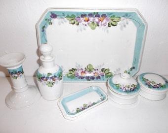 Antique Porcelain Dressing Table Vanity Set Hand Painted Violets Boudoir Set