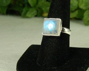 Moonstone Ring, Size 9, Square Shape, Electric Blue, Natural Moonstone, Sterling Silver, June Birthstone, Blue Moonstone, Square Moonstone