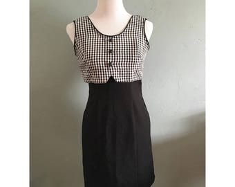90s Black and White Gingham Dress Women's Small