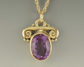 P672- 14ky Gold Amethyst Pendant- One of a Kind