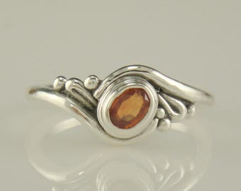 R984- Sterling Silver Padparadscha Sapphire Ring- One of a Kind