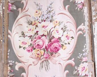 Paris Gray Pink English Cabbage Rose Floral Pattern Chic Garden Cottage Designer Decorative Throw Pillow